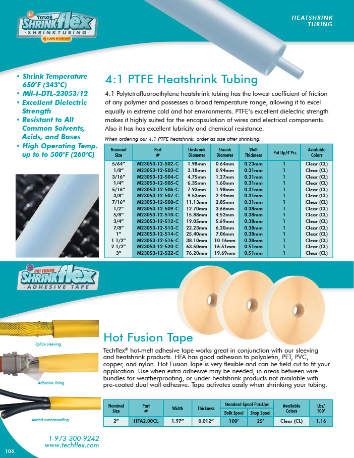 Hot Fusion Tape catalog page image