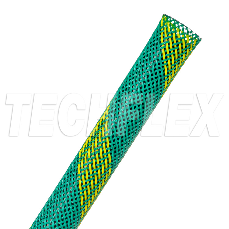 "Flexo® PET - 1/2"" - Groundwire (Green w/ UV Yellow Stripe)"