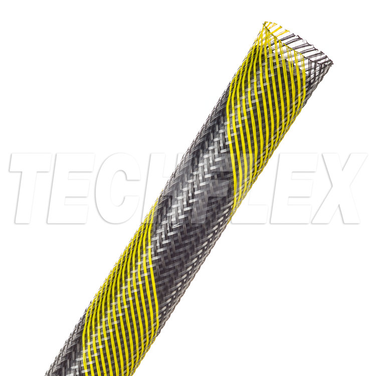 "Flexo® PET - 5/8"" - Safety Stripe (Black / UV Yellow)"