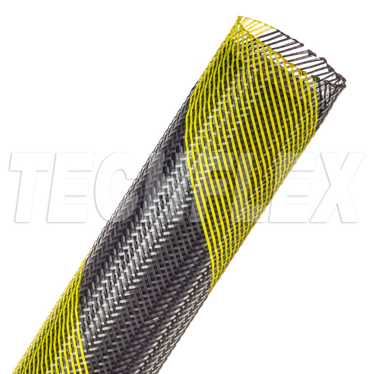 "Flexo® PET - 1-1/4"" - Safety Stripe (Black / UV Yellow)"