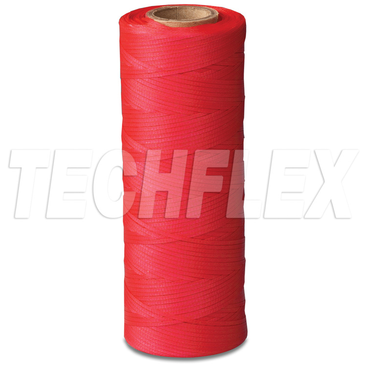 Braided Polyester Lacing Tape - Synthetic Rubber Finish - .054-.066 - Red