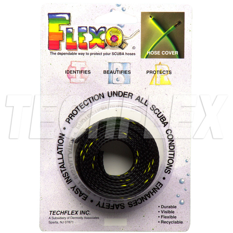 SCUBA Hose Cover, Black with Neon Yellow Spiral Tracer