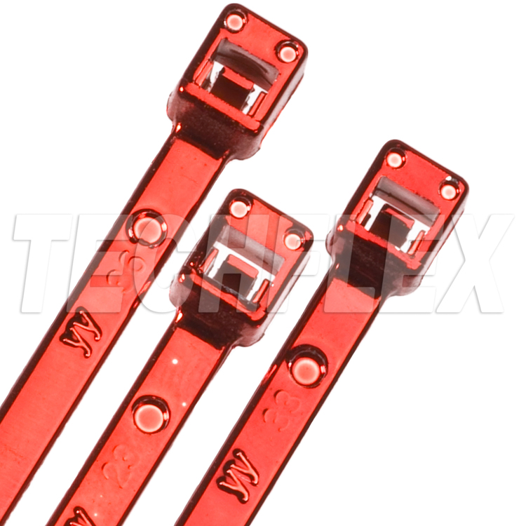 "8"" Red Metallic Plastic Cable Ties"
