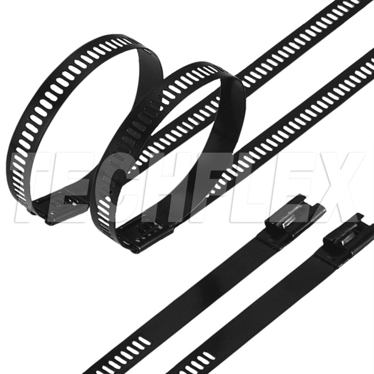 "14"" 250lb Coated Stainless Ladder Ties, Black"