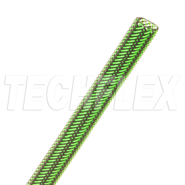 "Flexo® PET Tight Weave - 1/4"" - Black / Neon Green Stripe"